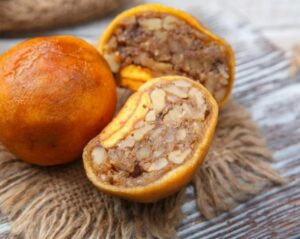 Armenian Alani, pitted dried peaches stuffed with ground walnuts and sugar