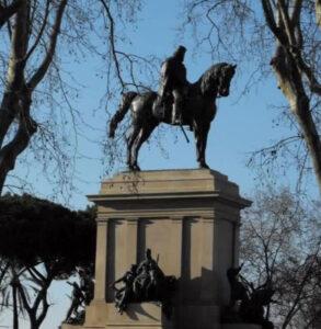 Giuseppe Garibaldi Monument. Military Leader, Patriot who fought for Italian unity. Janiculum Hill, Square Piazza Garibaldi.