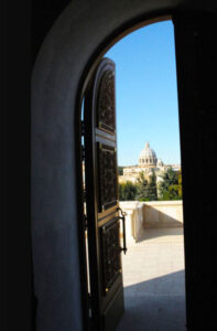 View to St. Peter's Basilica from Russian Orthodox Church in Villa Abamelek.