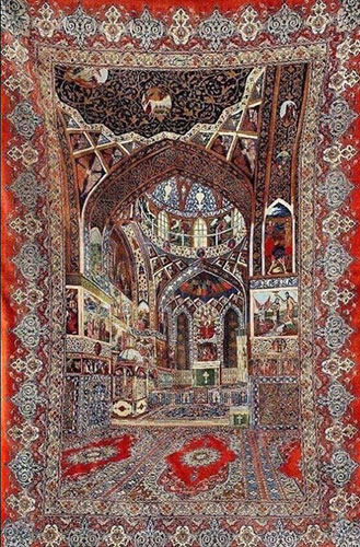 ArmenianCarpet with the image of the Vank Cathedral in New Jugha (Iran)