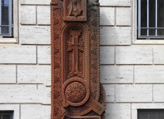 Armenian Cross Stone near Armenian Church - Chiesa di San Nicola da Tolentino. Via di S. Nicola da Tolentino, 17