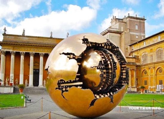 Sphere within Sphere, Sfera con Sfera, Arnaldo Pomodoro, 1990. Pinecone Courtyard, Vatican Museums