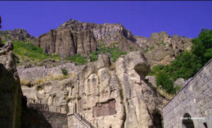 Khachkars Inset in Rock Outcropping, Geghard Monastery.