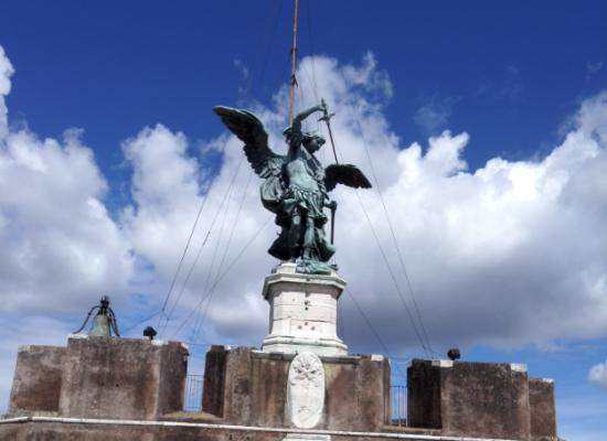 Statue of Archangel Michael on Top of The Mausoleum of Hadrian, Rome