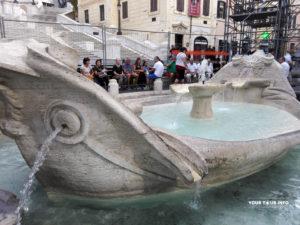 """Fountain of the Boat"" (The Fontana della Barcaccia), at the foot of the Spanish Steps, Spanish Square (Piazza di Spagna)."