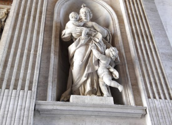 Marble Statue of Virgin Mary and Baby Jesus in Vatican