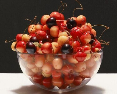 """Paintings """"A glass bowl of cherries"""". Hyperrealism. Luciano Ventrone. A glass bowl of cherries. Hyperealism. Luciano Ventrone."""