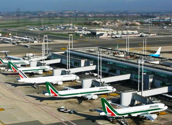 """Fiumicino International Airport """"Leonardo da Vinci"""", Rome. Major Airport in Italy. One of the Busiest Airports in Europe. 30km away from the City Centre."""