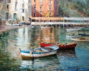 Riflessi a Sorrento con barche a riposo, Andrea Marini