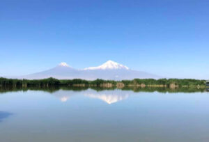 Mount Ararat, view from The Armash Important Bird Area (Armash Fishponds).