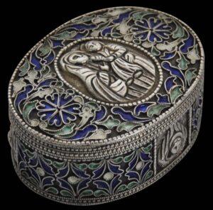 Armenian Enamelled & Filigree Silver Holy Altar Box, 18th-19th century