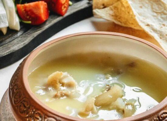 Khash, Խաշ - hot aromatic broth made from hooves, drumsticks, and tripe․ Serves hot with lavash, crushed garlic, vinegar, salt, pickles.