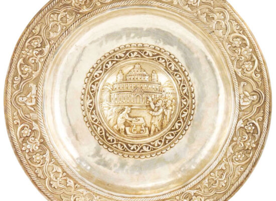 Armenian Silver Repousse Dish, Kayseri,18th century