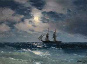 Brig Mercury in the Moonlight. 1892.