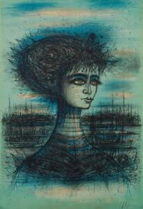Bust of Lady, 1966, lithograph.