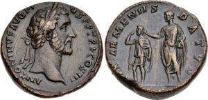 Coin of Antoninus Pius, ca. 141-143. Pius asigns Roman-appointed king of Armenia Sohaemus.