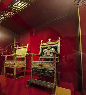Diamond throne of Tsar Alexis Mikhailovich, granted by Armenian Merchant,1660. Kremlin Armoury Chamber, Hall 7. Ancient state regalia and ceremonial items 18-19 centuries.