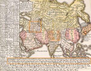 German linguist Gottfried Hensel's Linguistic Map, 1741, Nuremberg
