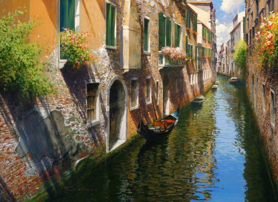 Gondolas on the Canal, Late Summer Shadows, Raffaele Fiore