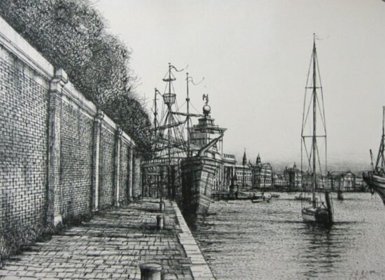 Dock in Venice, Lithograph, 1988.