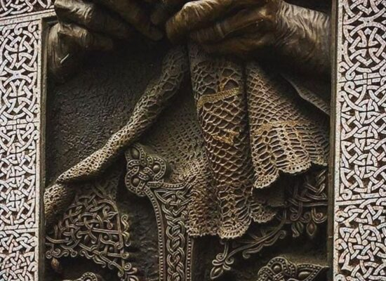 """A Mother's Hands"" Khachkar| Cross Stone, Artist: Daniel Varoujan Hejinian, 375 Merrimack Street, Lowell City Hall Massachusetts, USA"