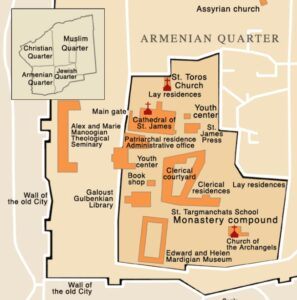 Location of Church of the Holy Archangels in a detailed map of the monastery compound