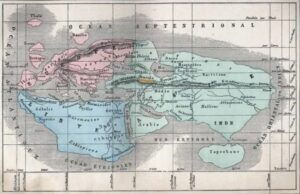 Armenia on the world map according to Eratosthenes 276 – 194 BC., reproduced by A. Villemin in Earth and seas, or physical description of the world L. Figuier, Paris, Librairie Hachette, 1884