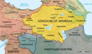 Map of Armenia and the Roman client states in eastern Asia Minor, ca. 50 CE, before the Roman-Parthian War and the annexation of the client kingdoms into the Empire.