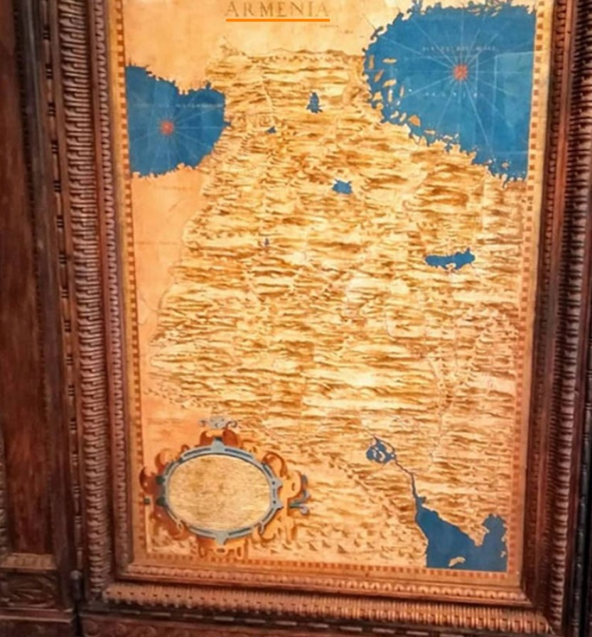 Map of Armenia in the Hall of Geographical Maps, behind which is a secret passage way. Palazzo Vecchio, Florence, Italy.
