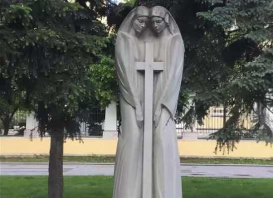 """Monument """"United Cross"""" or """"The Armenian-Russian Friendship is blessed for ever"""", Nikitinskie Vorota Square, Moscow."""