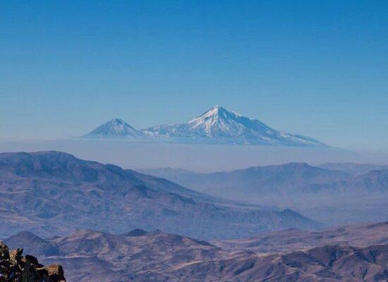 Mt. Ararat (5,137 m) from Mt. Amulsar ( 2,300 m), Vayots Dzor Province
