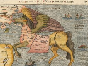 Pictorial map by Heinrich Bünting, depicting Asia as Pegasus, 1581. The horse's head represents Asia Minor, the brain is Armenia including Cilicia. The wings portray Central Asia and Siberia.