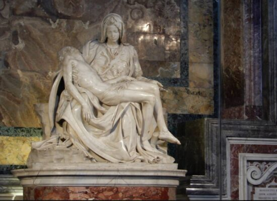 """""""The Piety""""; 1498–1499, Michelangelo, St. Peter's Basilica"""