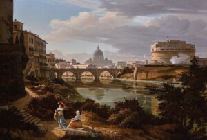View of the river Tiber, on the right - Castel Sant' Angelo, beyond - Saint Peter' s Basilica, Rudolf Wiegmann, 1834.