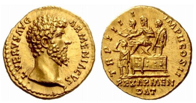 Gold Circulating Commemorative Coin of Roman Empire, 163-164 AD, Emperor Lucius Verus Armeniacus crowning Sohaemus, King of Armenia.