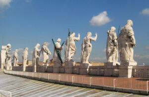 Statues of Christ and the Apostles on the Roof of St Peter's Basilica.
