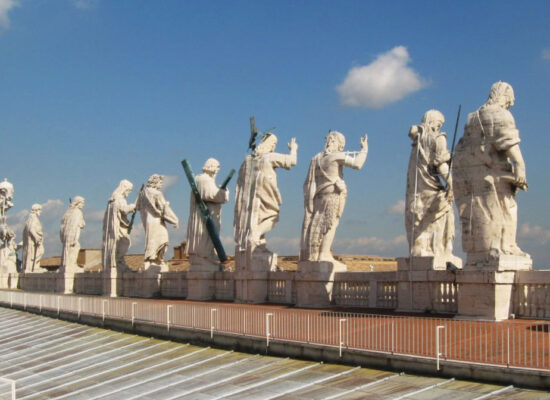 Statues of Christ and the Apostles on the Roof of St Peter's Basilica