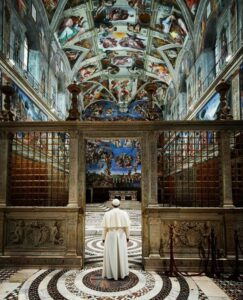 Pope Francis in the Sistine Chapel.