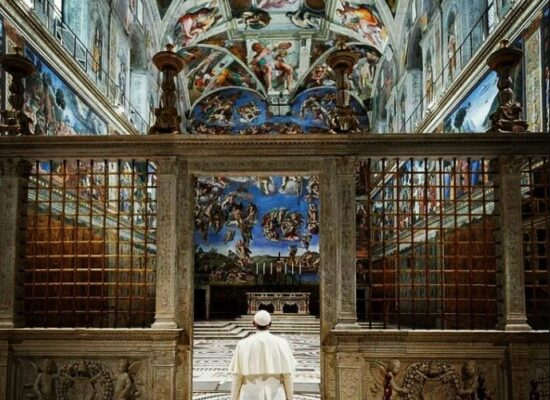 Pope Francis in the Sistine Chapel