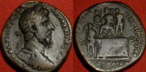 LUCIUS VERUS AE sestertius. Rome, 163-164 AD. Emperor Verus crowning Sohaemus, King of Armenia.