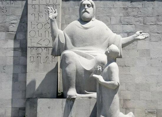 Statues of Mesrop Mashtots - creator of Armenian Alphabet and Koriun - his pupil and biographer, erected in front of Matenadaran - anchient manuscripts depository.