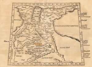 Tercia Asiae Tabula (Armenia, etc.) The creator of the map is Martin Waldeseemüller, Lorraine, 1513. Description - A striking specimen of the Waldseemuller map of the region between the two seas, the Black and Caspian, with centered in Armenia.