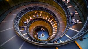 Spiral Staircase at Vatican Museums. Giuseppe Momo. 1932.