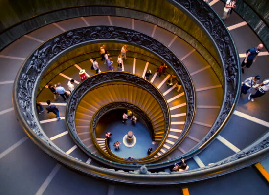 Spiral Staircase at Vatican Museums. Giuseppe Momo. 1932.
