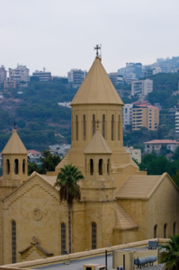 The St. Gregory the Illuminator Armenian Cathedral at the Holy See of Cilicia in Antelias, Lebanon.