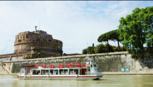 Hop On Hop Off Cruise Boat. Tiber River.