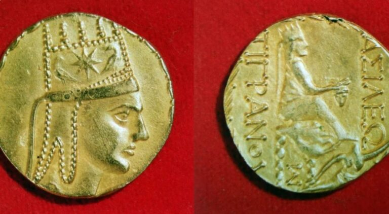 Silver coin of the Armenian King of Kings Tigranes the Great,140 – 55 BC.