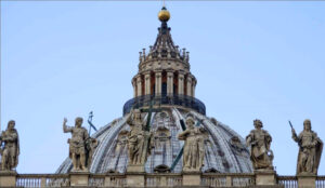 The top of the Dome of St. Peter's Cathedral. Michelangelo's Dome (Cupola).