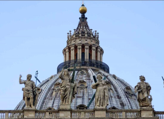 The top of the Dome of St. Peter's Cathedral. Michelangelo's Dome (Cupola)