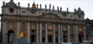 Saint Peter's Basilica at light